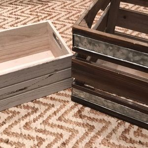 Wooden crate boxes.
